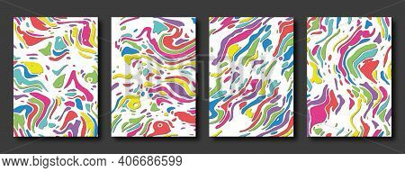 Set Of Cover Templates. Rounded Fluid Multicolored Bright Shapes With Shadow In Different Colors. Ve