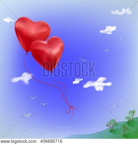 A Pair Of Red Heart-shaped Balloons Are Tied With Strings And Fly Across The Sky Over The Receding L
