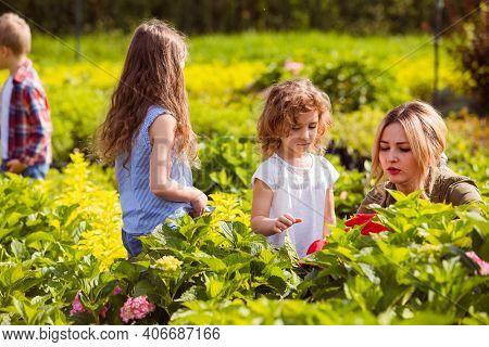 Children At The Excursion In Botanical Garden