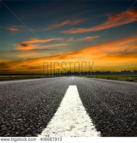 Summer Country Road . Rural Environment Road. Nature Road. Asphalt Road. Landscape With Empty Asphal
