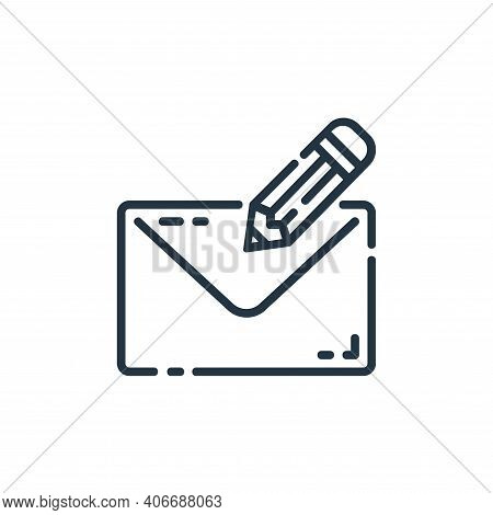 write mail icon isolated on white background from user interface collection. write mail icon thin li
