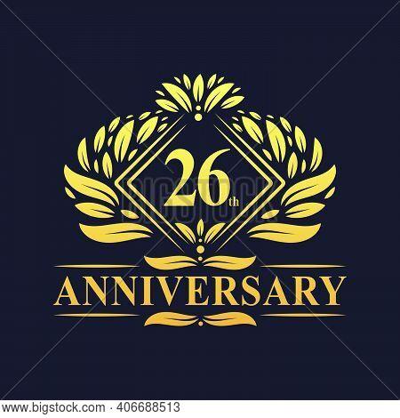 26 Years Anniversary Logo, Luxury Floral Golden 26th Anniversary Logo.