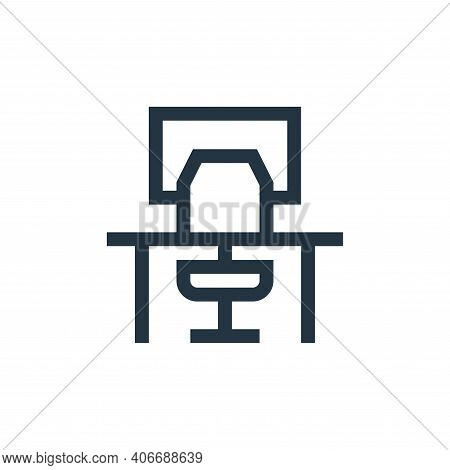 workplace icon isolated on white background from job resume collection. workplace icon thin line out