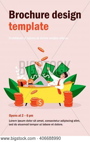 Successful Millionaire Bathing In Money Isolated Flat Vector Illustration. Cartoon Happy Rich Charac