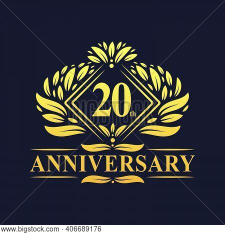 20 Years Anniversary Logo, Luxury Floral Golden 20th Anniversary Logo.