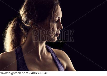 Slim Beauty Athletic Woman On Black Background