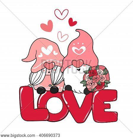 Two Valentine Romantic Gnome Couple On Red Love Letter Clip Art, Happy Love Cartoon Vector