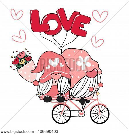 Two Valentine Romantic Gnome Couple On Pink Love Bicycle Clip Art, Happy Love Cartoon Vector