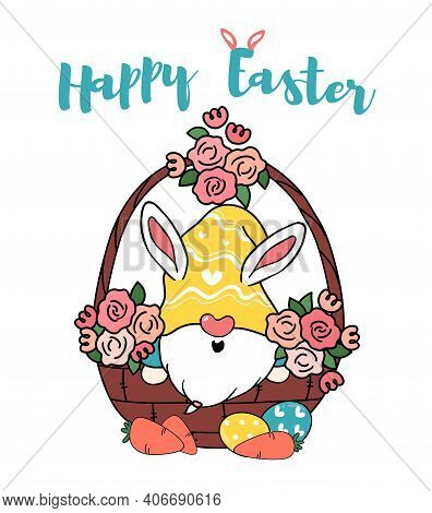 Cute Bunny Gnome In Egg Flower Basket, Happy Easter Cartoon Doodle Vector