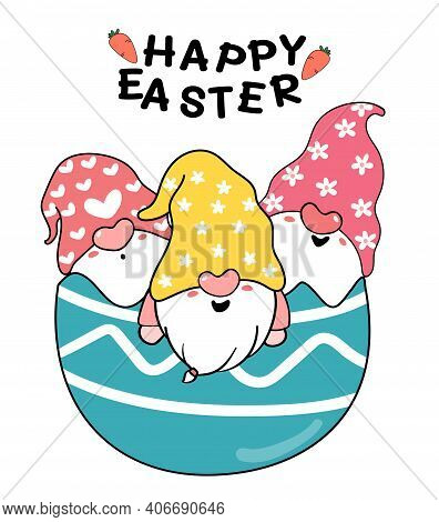 Three Cute Gnome In Broken Easter Egg, Happy Easter Cute Cartoon Doodle Vector Pastel