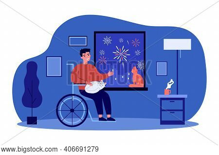 Handicapped Man Looking At Fireworks From Home. Invalid, Cat, Wheelchair Flat Vector Illustration. E