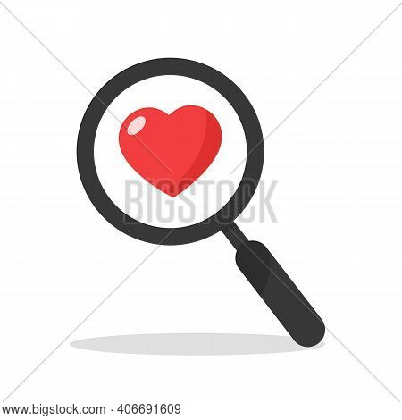 Search Heart And Love Icon, Vector. Magnifying Glass With Heart Inside. Dating Illustration. Valenti