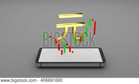 The Renminbi Abbreviated Rmb Official Currency Of China And Stocks Chart Flowing On A Smartphone Scr