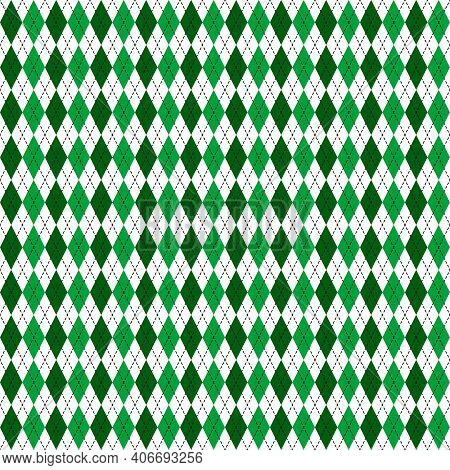 St. Patrick S Day Argyle Seamless Pattern. Green White Checkered Background. Saint Patricks Backdrop