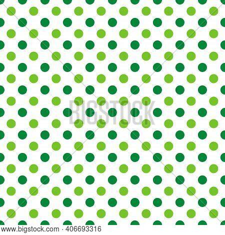 St. Patrick S Day Polka Dot Seamless Pattern. Green White Background. Saint Patricks Backdrop. Vecto