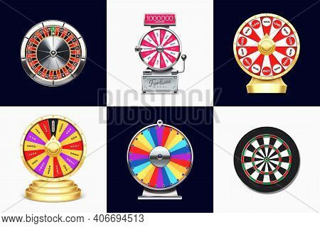 Casino Roulette, Spin To Win Game And Dart Board. Lucky Chance Wheel 3d Illustration Set