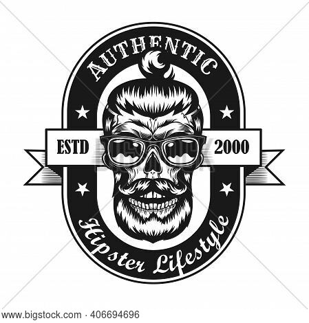 Black And White Hipster Style Label Vector Illustration. Retro Emblem With Bearded Skull In Glasses