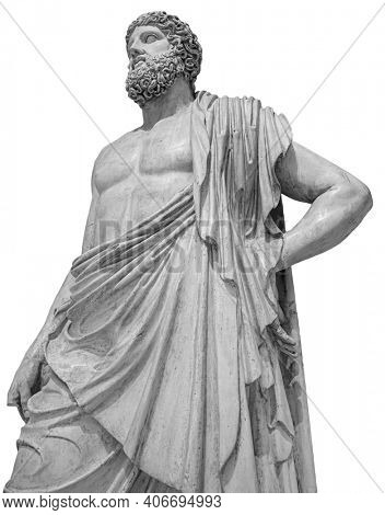 Marble statue of greek god Zeus isolated on white background. Antique sculpture of man with beard