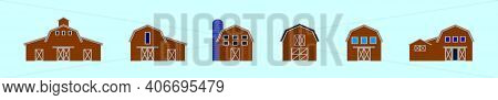 Set Of Barn Cartoon Icon Design Template With Various Models. Modern Vector Illustration Isolated On