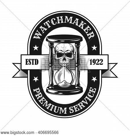Watchmaker Symbol Design. Monochrome Element With Skull In Sandglass Vector Illustration With Text.
