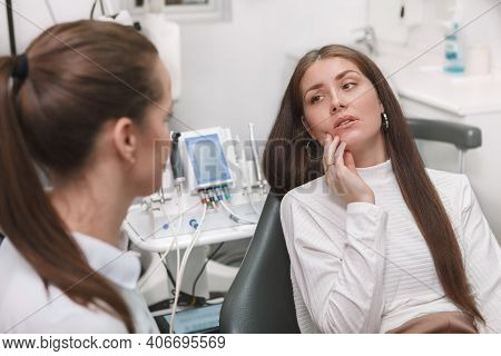 Attractive Young Woman Having Toothache, Visiting Dentist