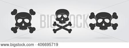 Set Of Skull Icon With Crossbones. Danger Symbol Of Skeleton On Grey Background. Cross Bone Icon. Ve