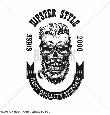 Antique Hipster Skull With Smoking Pipe Vector Illustration. Vintage Emblem With Bearded Dead Head I