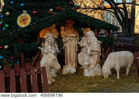 Christmas Wooden Nativity Scene And Christmas Tree At Peace Square Or Namesti Miru In Sunny Day, Vin