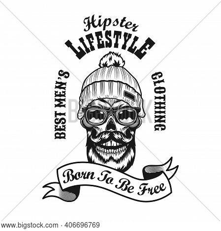 Retro Hipster In Warm Hat Vector Illustration. Monochrome Emblem With Bearded Skull In Glasses And K