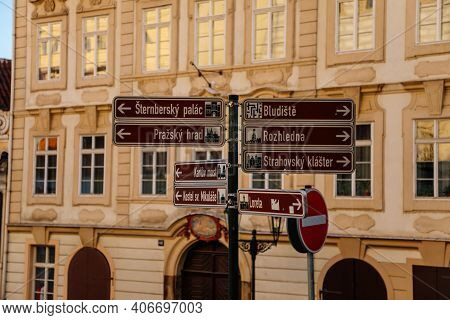 Information Street Sign, Signs Posts Indicating The Direction Of Tourist Places, Sightseeing Navigat