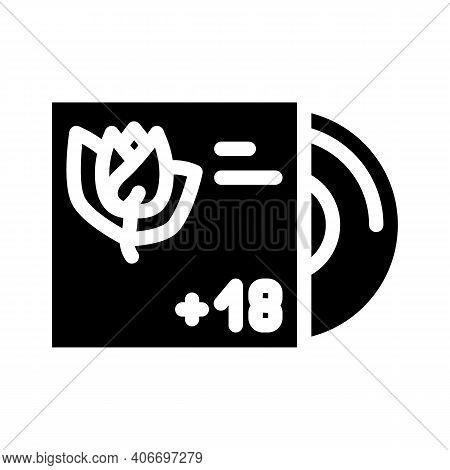 Disc Vinyl With Rap Glyph Icon Vector Illustration
