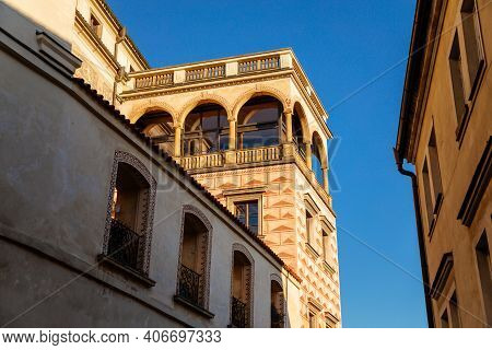 Beautiful Renaissance Balcony Is Richly Decorated With Figural Sgraffito, View From Town Hall Stairs