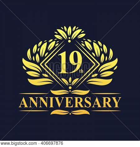 19 Years Anniversary Logo, Luxury Floral Golden 19th Anniversary Logo.