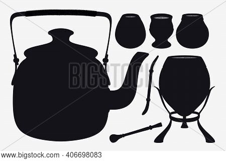 Yerba Mate. Set Silhouettes Of Teapot, Calabashes And Bombillas