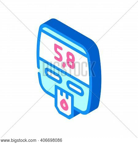 Blood Glucose Meter Device Isometric Icon Vector Illustration