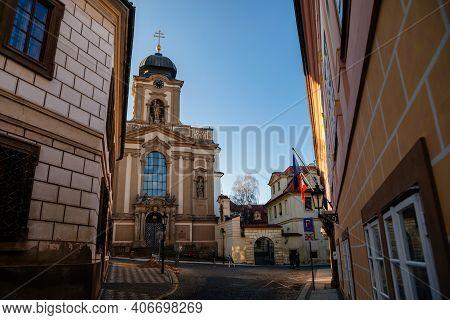 Old Beautiful Church Of St John Of Nepomuk Near Prague Castle, Clock Tower, Baroque Stucco, Hradcany