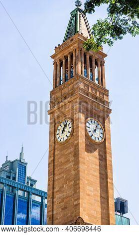 Brisbane City Hall Clock Tower In Downtown Brisbane, Australia, 2021