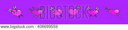 Set Of Arrow Through Heart Cartoon Icon Design Template With Various Models. Modern Vector Illustrat