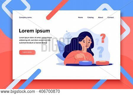 Puzzled Woman Choosing Between Two Buttons And Pushing Blue One. Vector Illustration For Difficult C