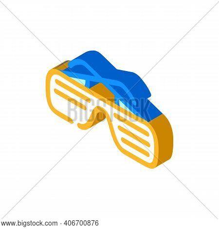Sunglasses Rapper Stylish Accessory Isometric Icon Vector Illustration