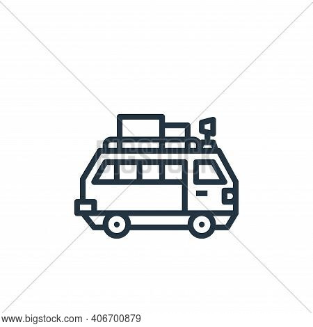 van icon isolated on white background from travel collection. van icon thin line outline linear van