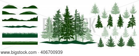 Forest, Constructor Kit. Silhouettes Of Beautiful Spruce Trees, Grass, Hill. Collection Of Element F