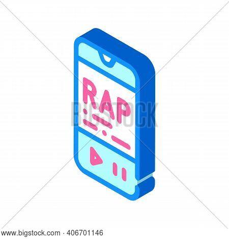Listening Rap Music Phone App Isometric Icon Vector Illustration