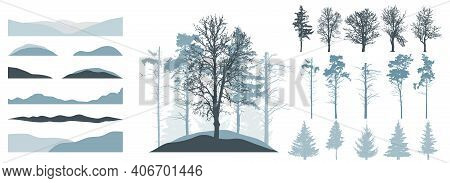 Forest, Constructor Kit. Silhouettes Of Beautiful Spruce Trees, Pine, Bare Trees, Snow Hill. Collect