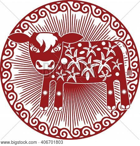 Young Calf Depicted In Chinese Red Paper Cut Style