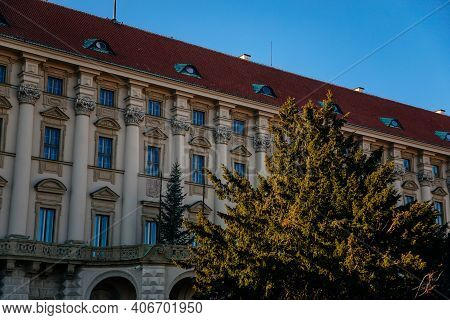 Facade Of The Largest Of The Baroque Ancient Czernin Palace On Loreta Square, Offices Of The Czech F