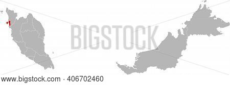 Pulau Pinang State Isolated On Malaysia Map. Gray Background. Business Concepts And Backgrounds.