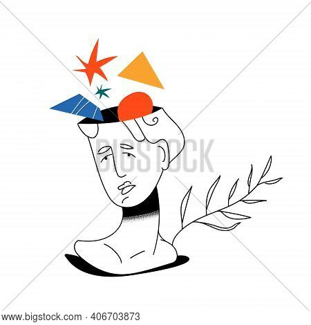 Frustrated Woman With Nervous Problem Feels Anxiety And Confusion Of Thoughts Illustration. Mental D