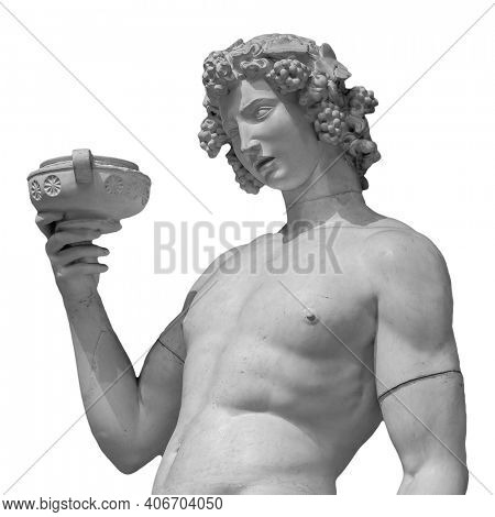 Ancient statue of Dionysus isolated on a white background. Dionysus is the God of the grape harvest, wine and merriment. Also known as Bacchus