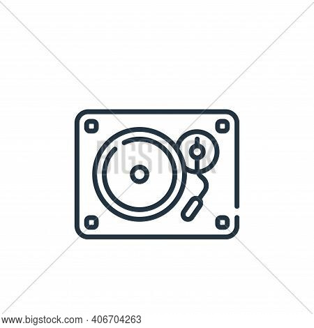 turntable icon isolated on white background from music collection. turntable icon thin line outline